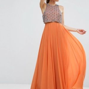 All Over Embellished Crop Top Maxi Dress